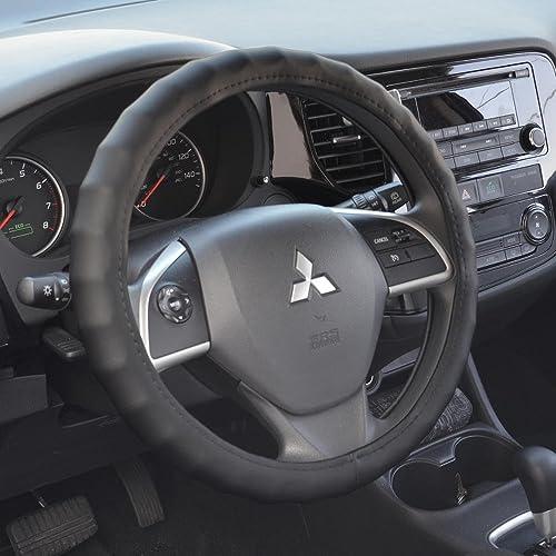 BDK SW899 Black Leather Car Steering Wheel Cover