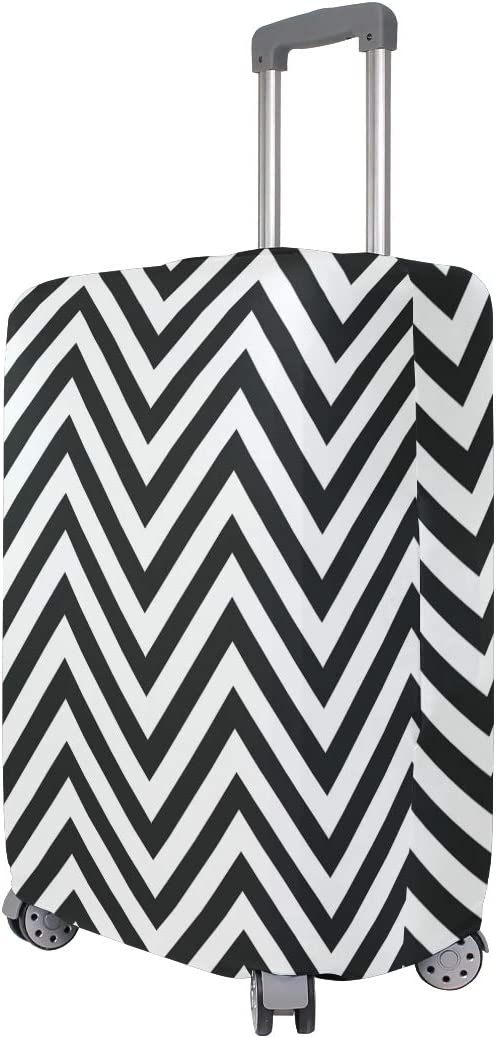Travel Luggage Cover Black And White Zigzag Pattern Suitcase Protector
