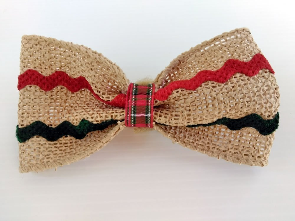 Fancy Burlap Ribbon Dog Bow Tie with Novelty Ric Rac Trim - Wrap Around the Collar Closure