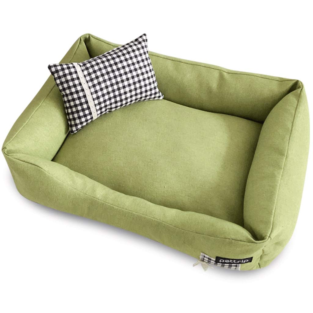 Green 85×60cm Green 85×60cm Hidog A++ Square Pet Sofa Nest, Home golden Hair Large Small Cat Kennel, Non-slip Removable Pet Mat Four Seasons Universal (color   Green, Size   85×60cm)
