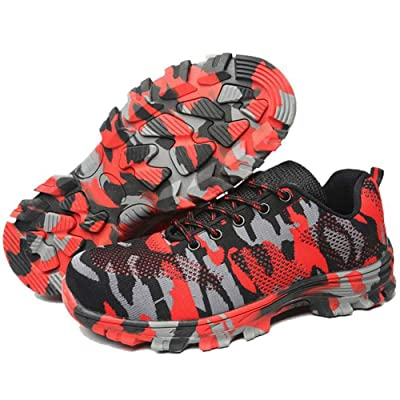 Unisex Camouflage Labor Insurance Shoes, Work Safety Shoes Puncture Proof Safety Shoes Outdoor Shoes with Lace-up-Red: Shoes