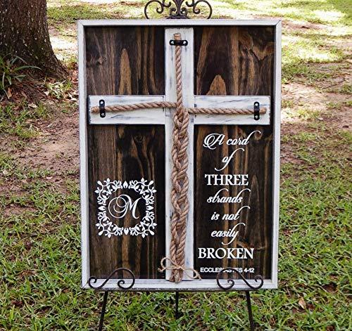 Cord Of Three Strands Wedding (Cord of Three Strands, Wedding Braid Cross Distressed Board Sign, Unity Candle Alternative Custom 24x17)