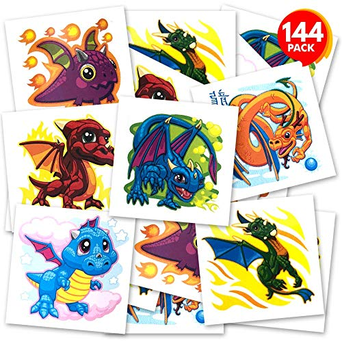 ArtCreativity Dragon Temporary Tattoos for Kids - Bulk Pack of 144 Tattoos in Assorted Designs, Non-Toxic 2 Inch Tats, Birthday Party Favors, Goodie Bag Fillers, Non-Candy Halloween Treats