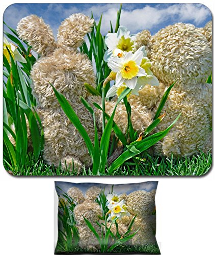 Liili Mouse Wrist Rest and Small Mousepad Set, 2pc Wrist Support teddy bear and bunny in daffodils Photo 19425863 ()
