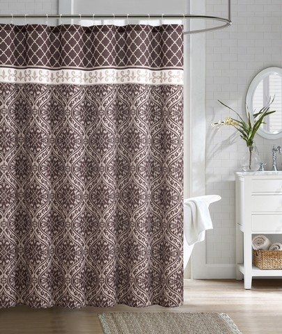 Luxury Home Rimini Embossed Microfiber Shower Curtain44; Brown - 72 x 72 in.