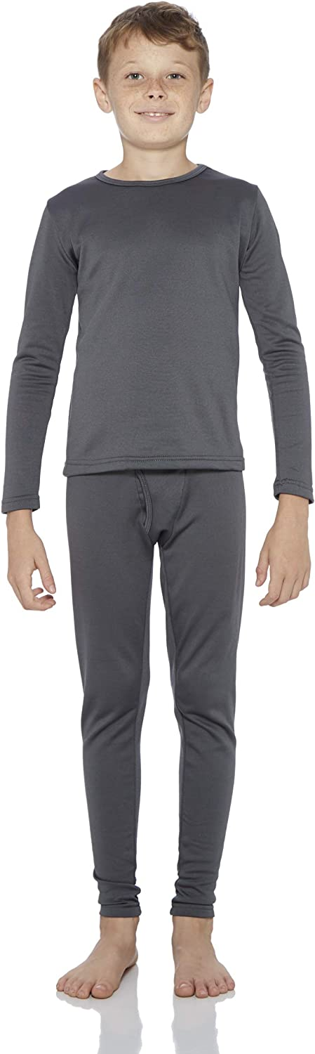 XL, Charcoal Rocky Boys Fleece Lined Thermal Underwear 2PC Set Long John Top and Bottom /…
