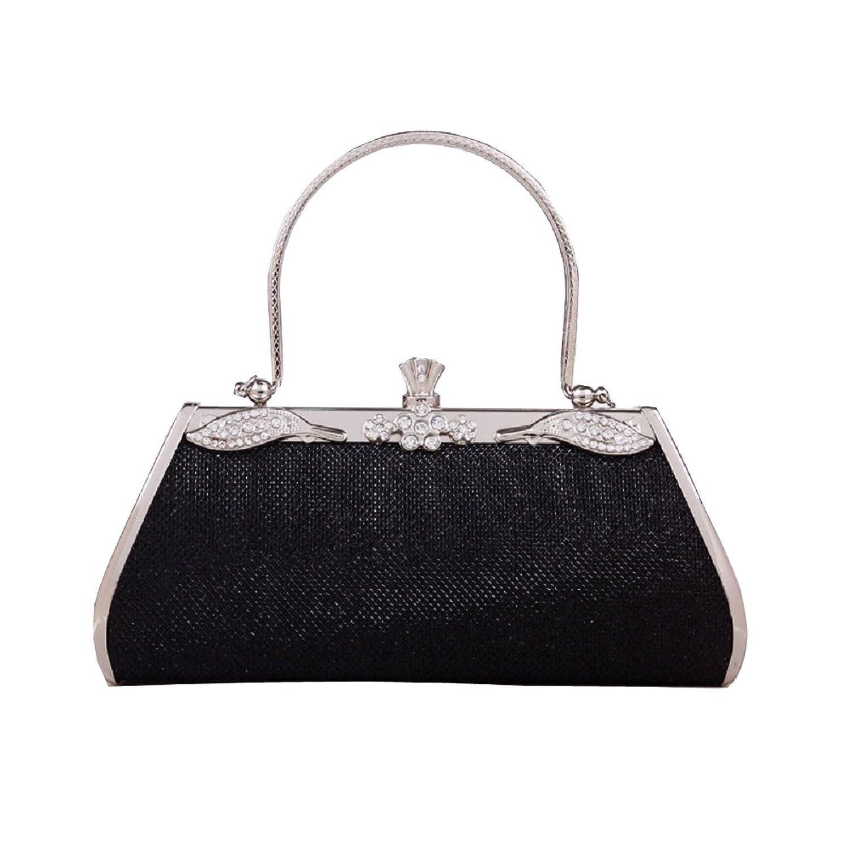 Womens Vintage Evening Cocktail Wedding Party Handbag Clutch Black