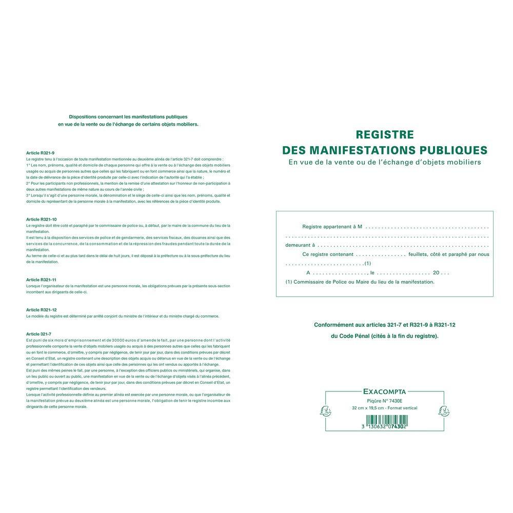 Exacompta 7430e registro piqué de 32 identificación de los GIANT 32 de x 19,5 cm objetos mobiliers 80 páginas Formato vertical 110 G/m² e3f2a3