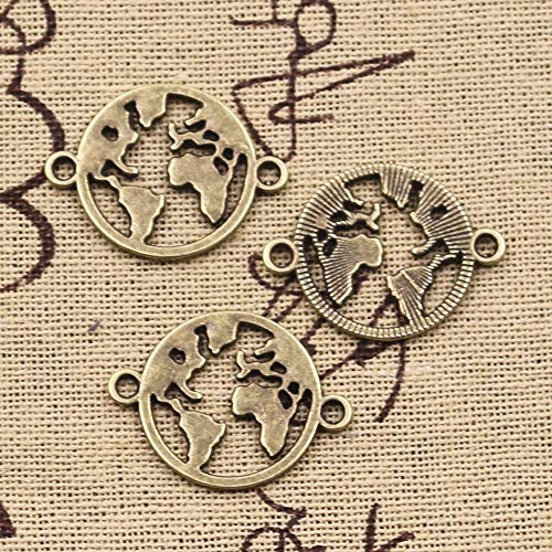 Charms World Map Link | Earth Connector | 20x26mm Antique Silver Pendants | Making Handmade Tibetan Silver Finding Jewelry from Batop