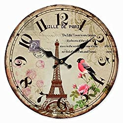 Telisha Wooden Wall Clock Paris French Eiffel Tower Bird Flower Clock Retro Vintage Large Clock Home Decorative Country Non -Ticking Silent Quiet 14 Inch Gift