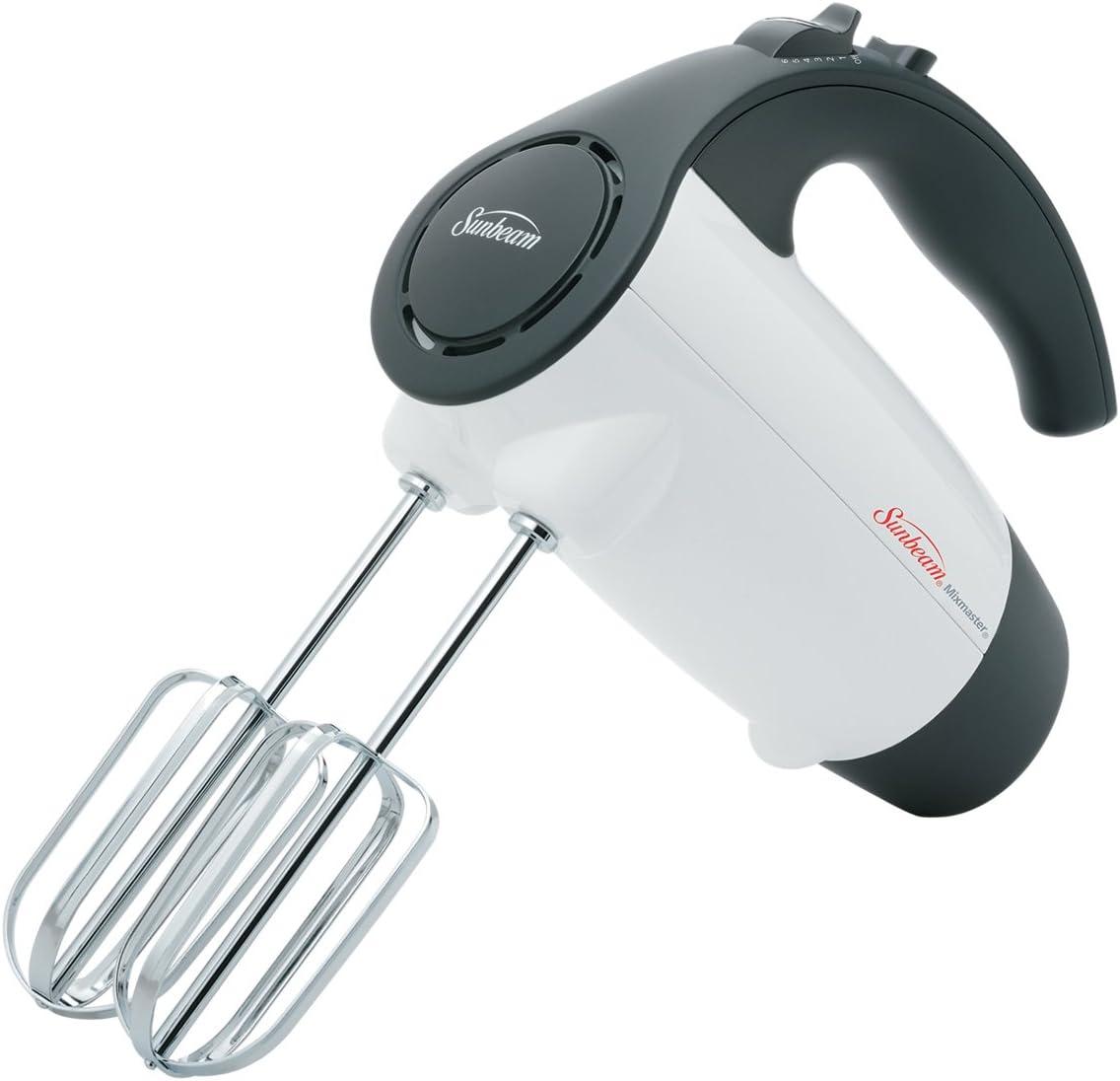 Sunbeam 2524 200-Watt 6-Speed Hand Mixer, White with Black Accents