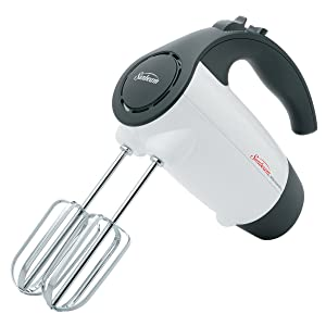 Sunbeam 2524 200-Watt 6-Speed Hand Mixer, White with Black Accents