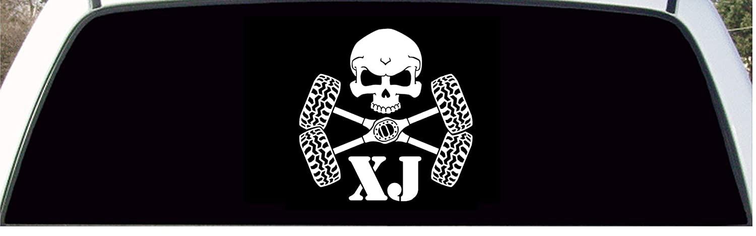 Skull Crossbones Tires /& Axles Jeep Cherokee XJ Large Back Window Decal SPG Products