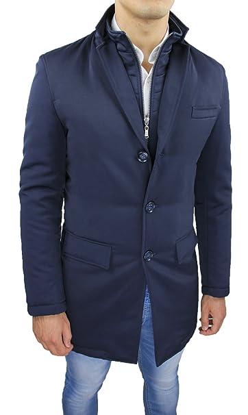 Giubbotto Giaccone Uomo Sartoriale Blu Invernale Slim Fit Giacca Soprabito  Elegante  Amazon.it  Abbigliamento edd1fe0c1da
