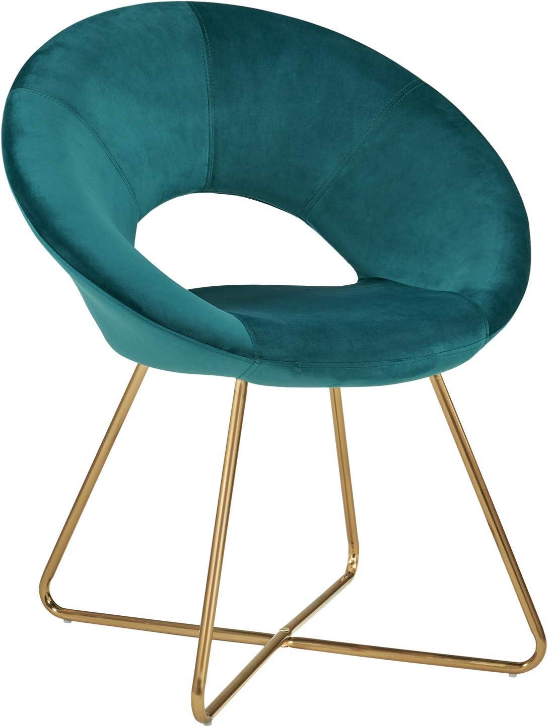 Duhome Silla de Comedor de Tela (Terciopelo) diseño Retro con Brazos Silla tapizada Vintage sillón con Patas de Metallo seleccion de Color 439D, Color:Verde Azulado, Material:Terciopelo