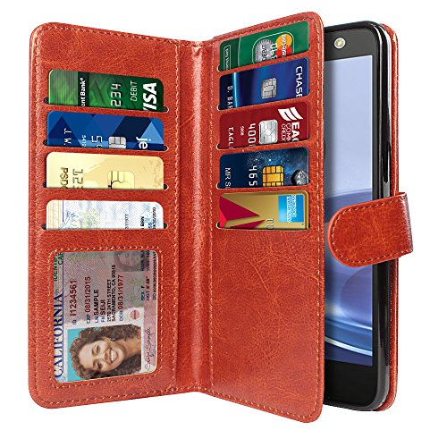 NEXTKIN Moto Z Force Case, Leather Dual Wallet Folio TPU Cover, 2 Large Pockets Double flap Privacy, Multi Card Slots Snap Button Strap For Motorola Moto Z Force 2016 Droid Edition - Dark Brown