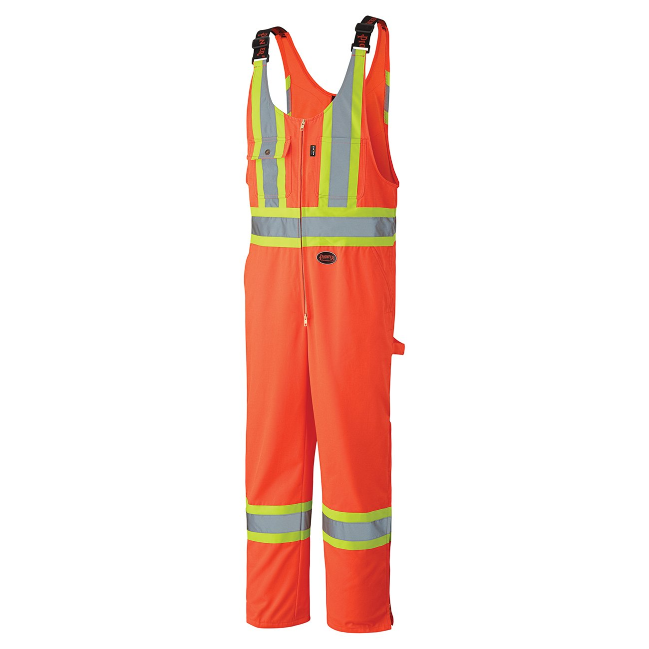 Pioneer V1160250-2XL High Visibility Safety Overall Bib Pants - Leg Zippers, Orange, 2XL