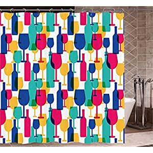 Winery Decor Collection shower curtains fabric washable Cocktail Glass and Wine Bottle Pattern Bar Menu Party Alcohol Drinks Festive Image Bathroom Decor Set with Hooks W72 xH72 Magenta Navy