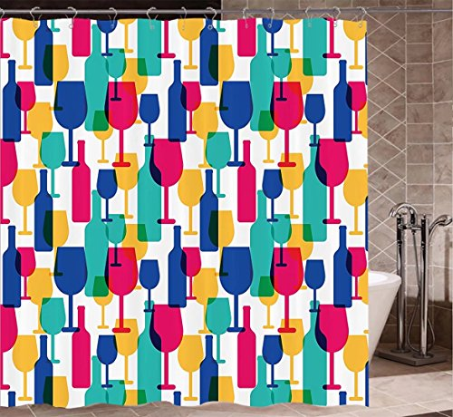 Winery Decor Collection Shower Curtains Fabric Extra Long Cocktail Glass and Wine Bottle Pattern Bar Menu Party Alcohol Drinks Festive Image Bathroom Accessories W72 xH81 Magenta Navy