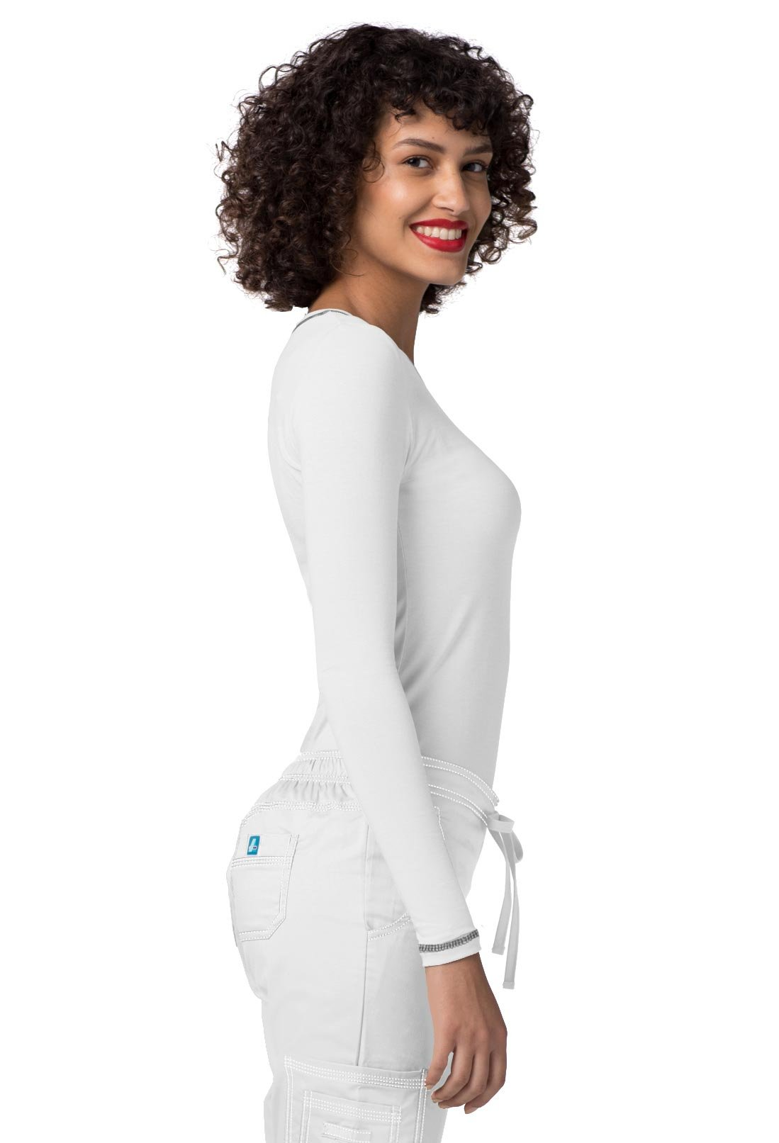 Adar Womens Comfort Long Sleeve Fitted T-Shirt Underscrub Tee- 3400 - White - L by Adar Uniforms (Image #5)