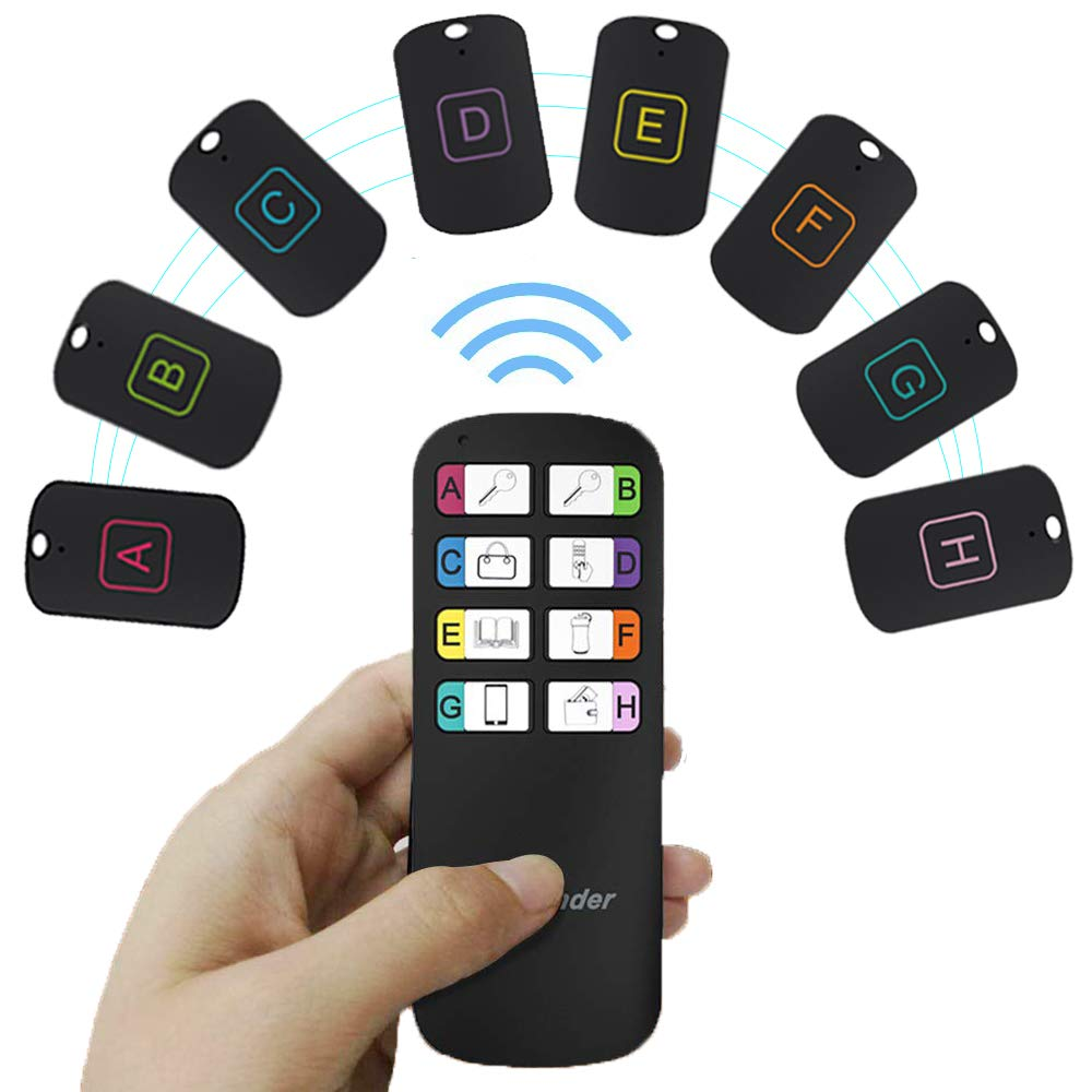 Key Finder, Vichoo Wireless Item Tracker 1 RF Transmitter and 8 Receivers Keychain Finder Item Locator Item Tracker Support Remote Control by E-ROCK