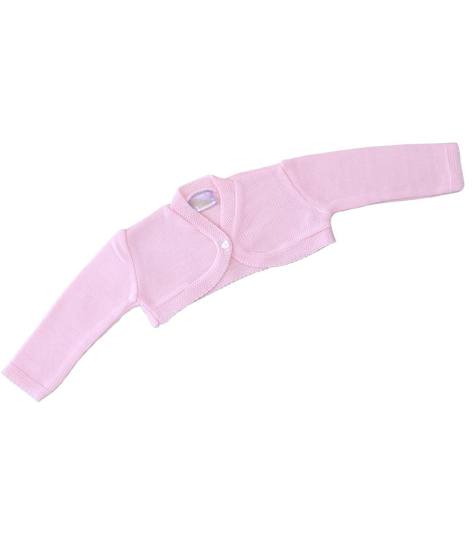 BabyPrem Baby Cardigan Jacket Acrylic Pink White Plain Bolero 0-23 mths