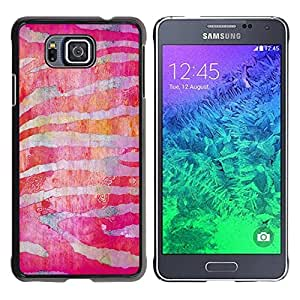FECELL CITY // Duro Aluminio Pegatina PC Caso decorativo Funda Carcasa de Protección para Samsung GALAXY ALPHA G850 // Zebra Stripes Red Fuchsia