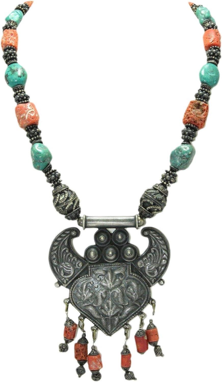Rajasthan Gems - Collar de plata envejecida con piedras de coral y turquesa