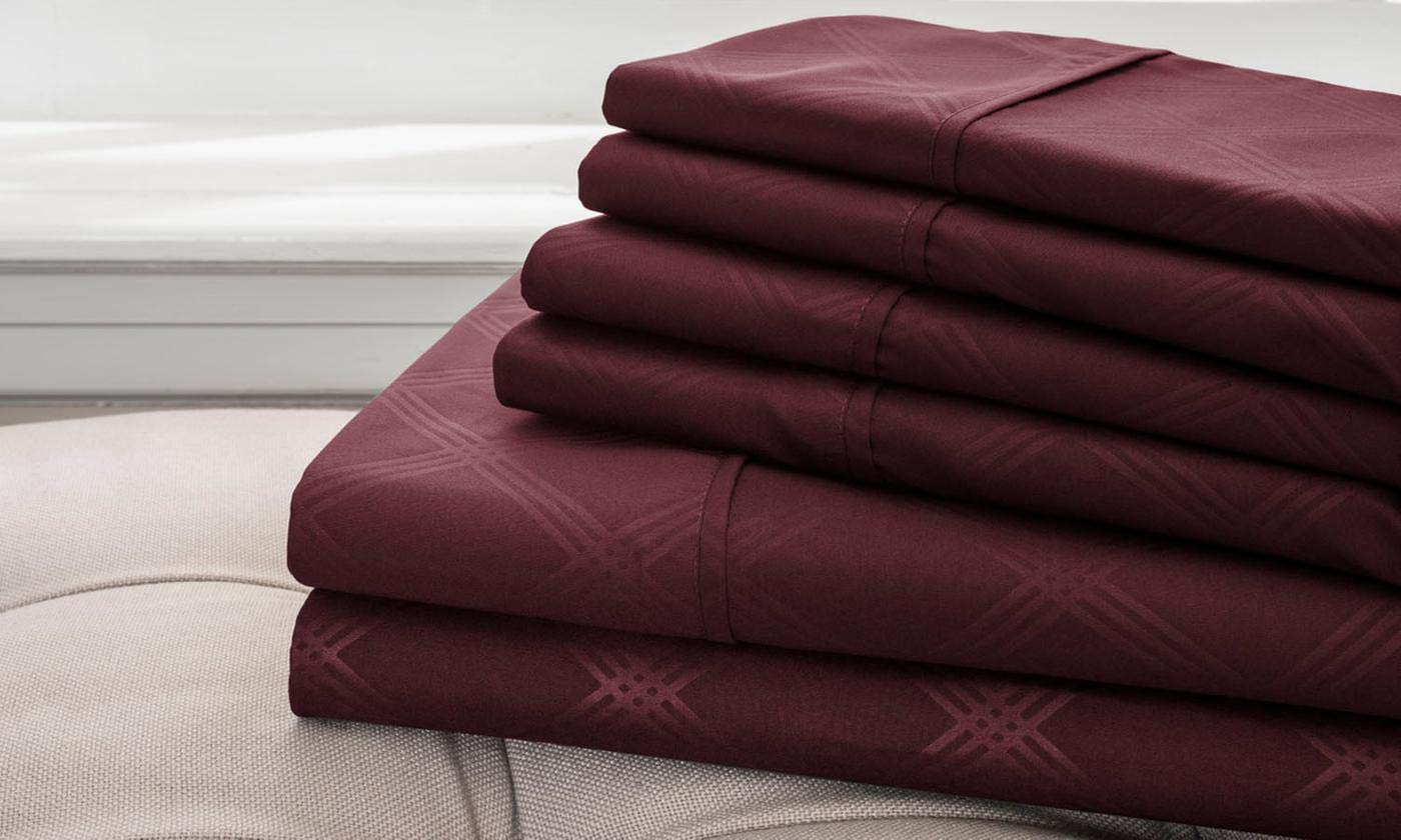 Hotel New York Embossed Plaid 85 GSM 6-Piece Microfiber Sheet Set