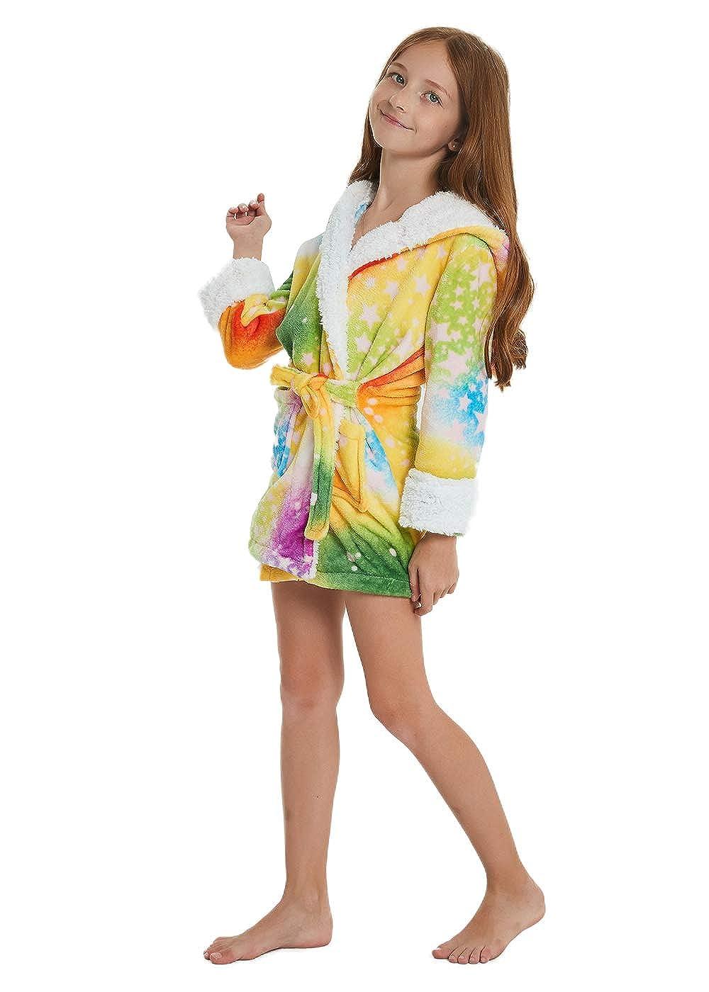 ABENCA Kids Hooded Animal Unicorn Bathrobe Plush Fleece Robe Halloween  Cosplay Sleepwear ABENCA.PA010 b62bb4633