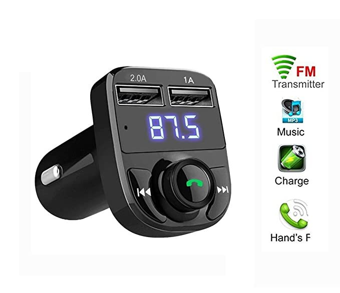 amazon com bluetooth fm transmitter autoday vehicle led wireless rh amazon com how to play music from phone in a car without aux