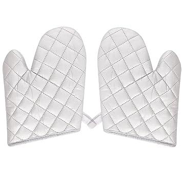 uxcell cocina pastelería horno resistencia al calor microondas horno Mitt Guantes Par Plata Blanco
