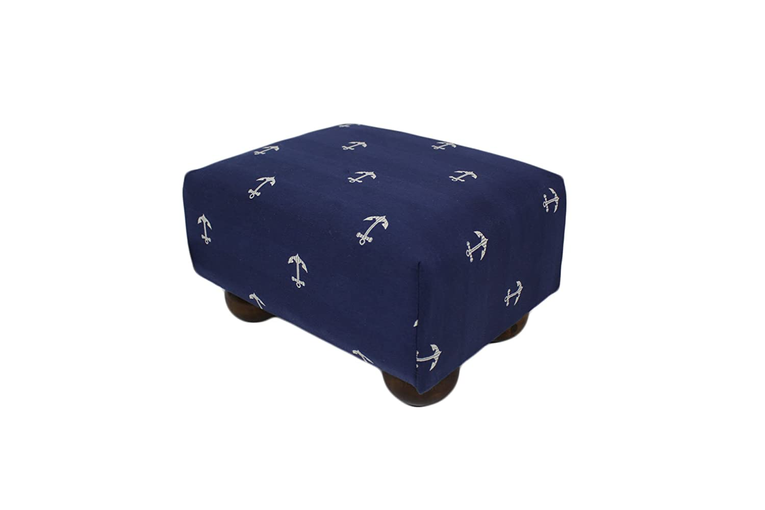 Deep Navy Blue Nautical Anchors Upholstered Fabric Footstool Ottoman ITGAM Products AMI-47587-999