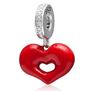Choruslove Red Hot Love Dangle Heart Charm 925 Sterling Silver Pendant Bead for Valentines Gift