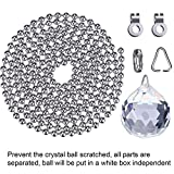 Hestya 2 Sets Clear Crystal Pull Chain Extension with Connector for Ceiling Light Fan Chain, 1 Meter Length Each