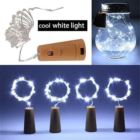 UNHO 10 PCS Led Corcho Botella Luces 2M 20LED Luces de Cable de Cobre para DIY Casa Cocina Decoración Fiesta Boda Navidad Color Blanco Frío