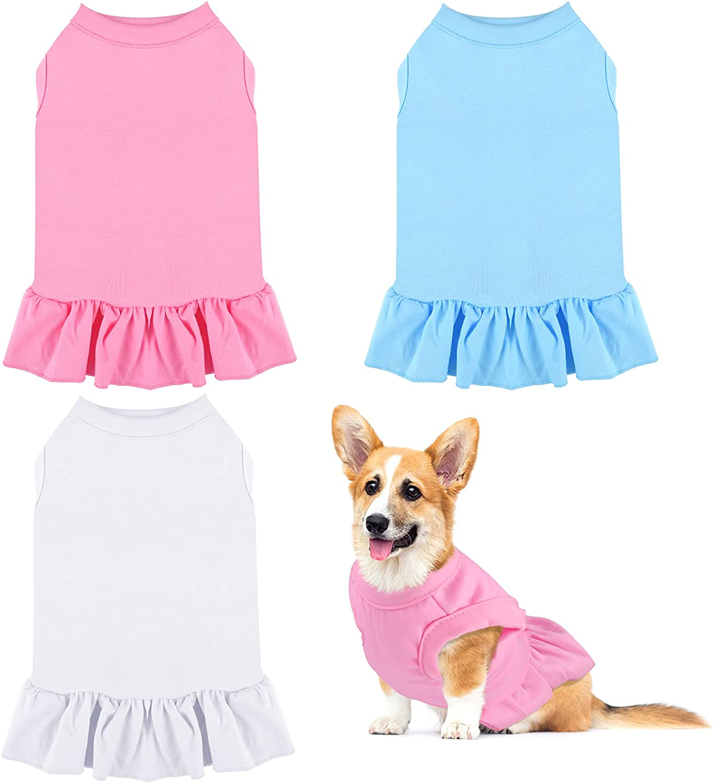 URATOT 3 Pieces Blank Dog Shirt Skirt Puppy Shirts Pet Sweatshirt Cute Plain Dog Shirt Puppy Dog Clothes Soft T-Shirt for Pet Dogs and Cats