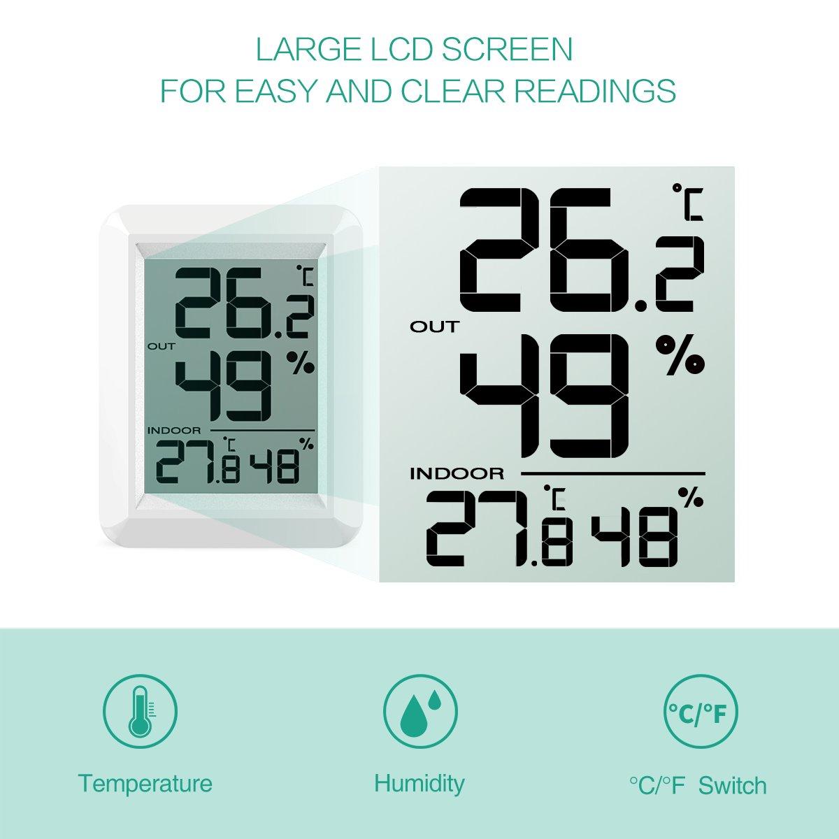 Misuratore di Umidit/à Father/'s Day Temperatura Monitor con Sensore Wireless 100 m Range Ufficio /°C///° F 60S Auto Refresh per Casa Serra ecc. ORIA Digitale Termometro Igrometro Interni//Esterni,