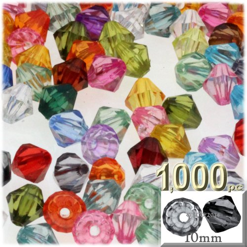 (The Crafts Outlet, 1000-pc Plastic Bicone Beads, Faceted, 10mm,)