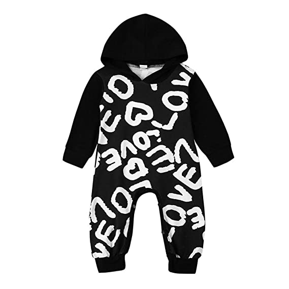HCFKJ NiñO ReciéN Nacido Bebé NiñOs NiñAs Carta Sudadera Con Capucha Mameluco Traje Trajes (80, Negro): Amazon.es: Ropa y accesorios