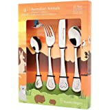 Stanley Rogers Children's Cutlery Australian Animals 4 Piece, stainless steel cutlery set, durable flatware for kids, mirror polished silverware in gift box (colour: silver), quantity: 1 set, 4 pieces