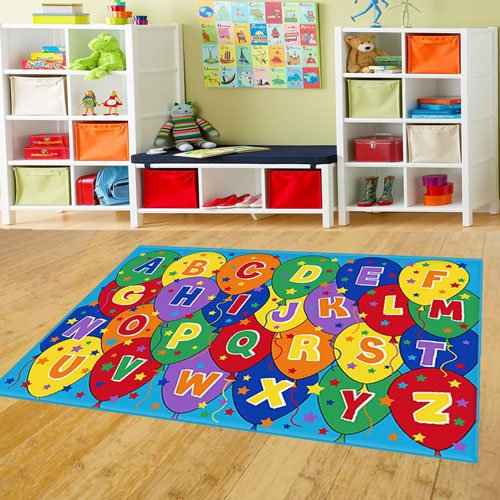"Mybecca Kids Rug ABC Balloons Area Rug 5' x 7' Children Area Rug for Playroom & Nursery - Non Skid Gel Backing (59"" x 82"")"