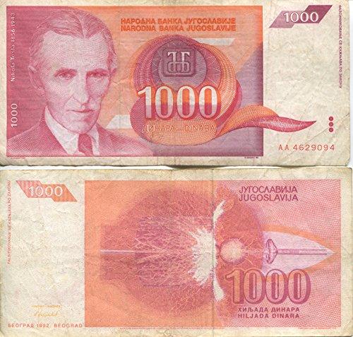 Note Dinara - Scarce Nikola Tesla 1,000 Dinara One Thousand Dinar Obsolete Note
