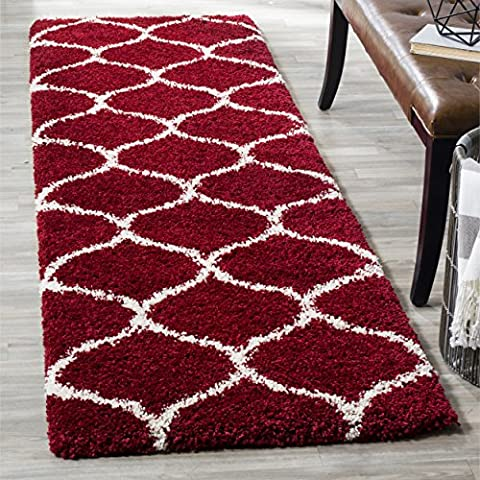 Safavieh Hudson Shag Collection SGH280R Red and Ivory Moroccan Ogee Plush Runner (2'3