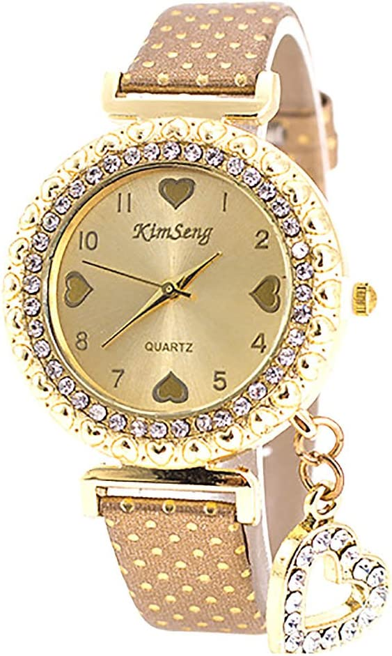 VANKER Cristal Rhinestone de lujo de cuero de imitación Banda Corazón colgante reloj de cuarzo (Color: Oro)