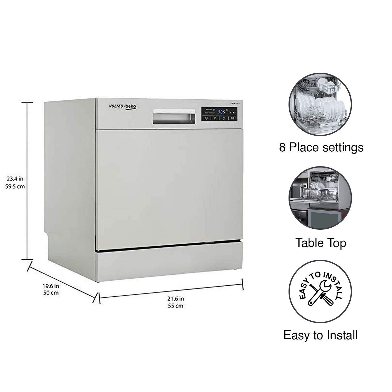 Voltas Beko DT8S Table top dishwasher dimensions