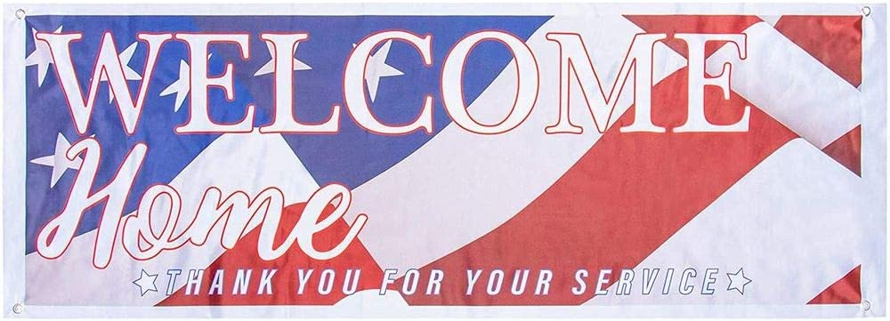 Juvale Welcome Home Deployment Banner - 2-Pack American Flag Decorations for Military, Army, Soldier, Marine, Navy, and USMC, 62.2 x 22 Inches