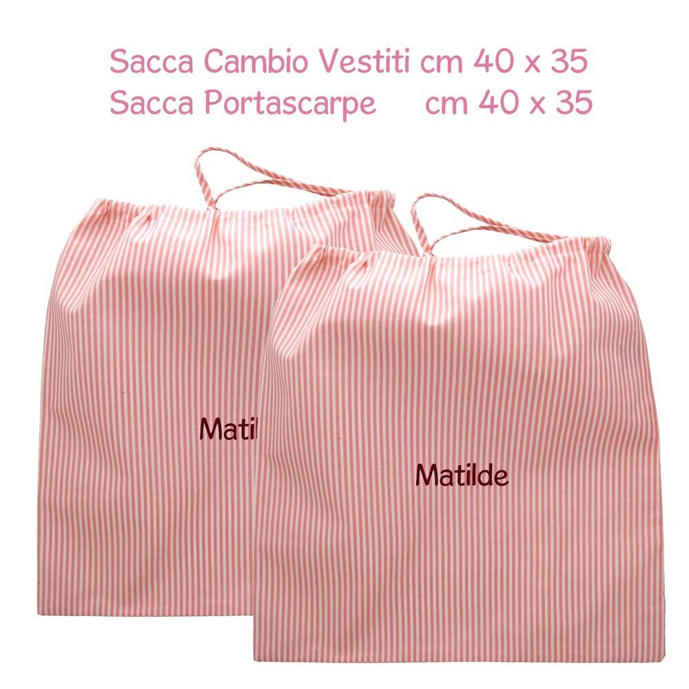 Sacche, Riga rosa Set asilo pappa con nome personalizzato Coccole