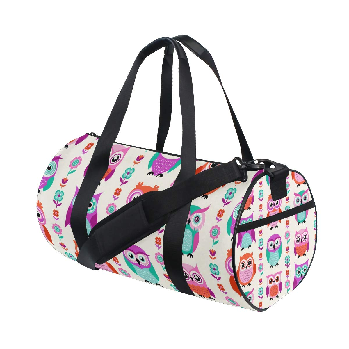 WIHVE Gym Duffel Bag Color Funny Cartoon Owls Flowers Sports Lightweight Canvas Travel Luggage Bag