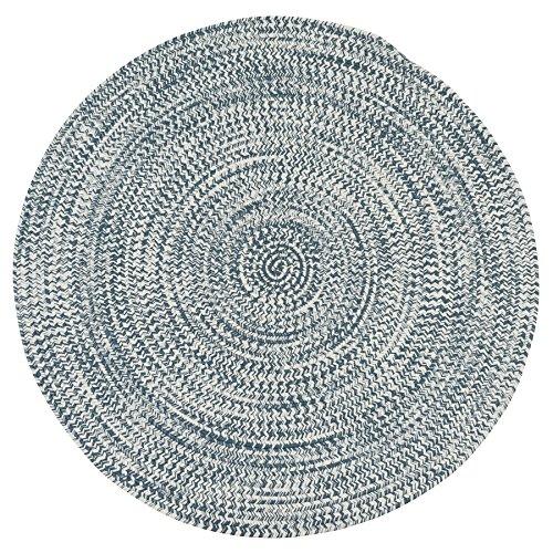 Colonial Mills KA68R036X036 Kaari Tweed Round Indoor/Outdoor Braided Area Rug, 3' x 3', Arctic Blue made in Rhode Island